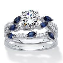 2.63 TCW CZ and Created Blue Sapphire Platinum over .925 Wedding Ring Set - $64.99