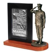 USMC bronze cast resin statue with Black Base Photo Frame  - $49.49
