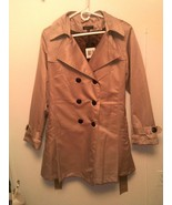 NWT EZBA ~ Women's XL Khaki Tan Jacket Trench Button Front Hooded Belted... - $24.73