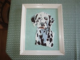 """Framed DALMATION DOG NEEDLE PUNCH EMBROIDERY Wall Hanging - 13 1/4"""" x 16... - $29.65"""