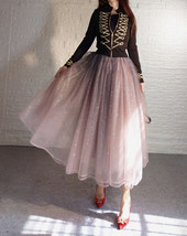 Rose Sparkle Tulle Skirt Long Tutu Glitter Skirt Rose Gold Sequin Party Outfit image 3