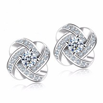 925 Silver Crystal Stud Earrings For Women Fashion Clear Cubic Zirconia ... - $8.34