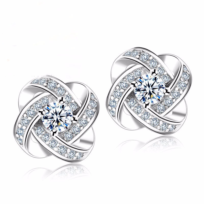 Primary image for 925 Silver Crystal Stud Earrings For Women Fashion Clear Cubic Zirconia Paved We