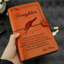 To My Daughter Where Ever Love Mom Engraved Leather Journal Notebook Diar - $21.00