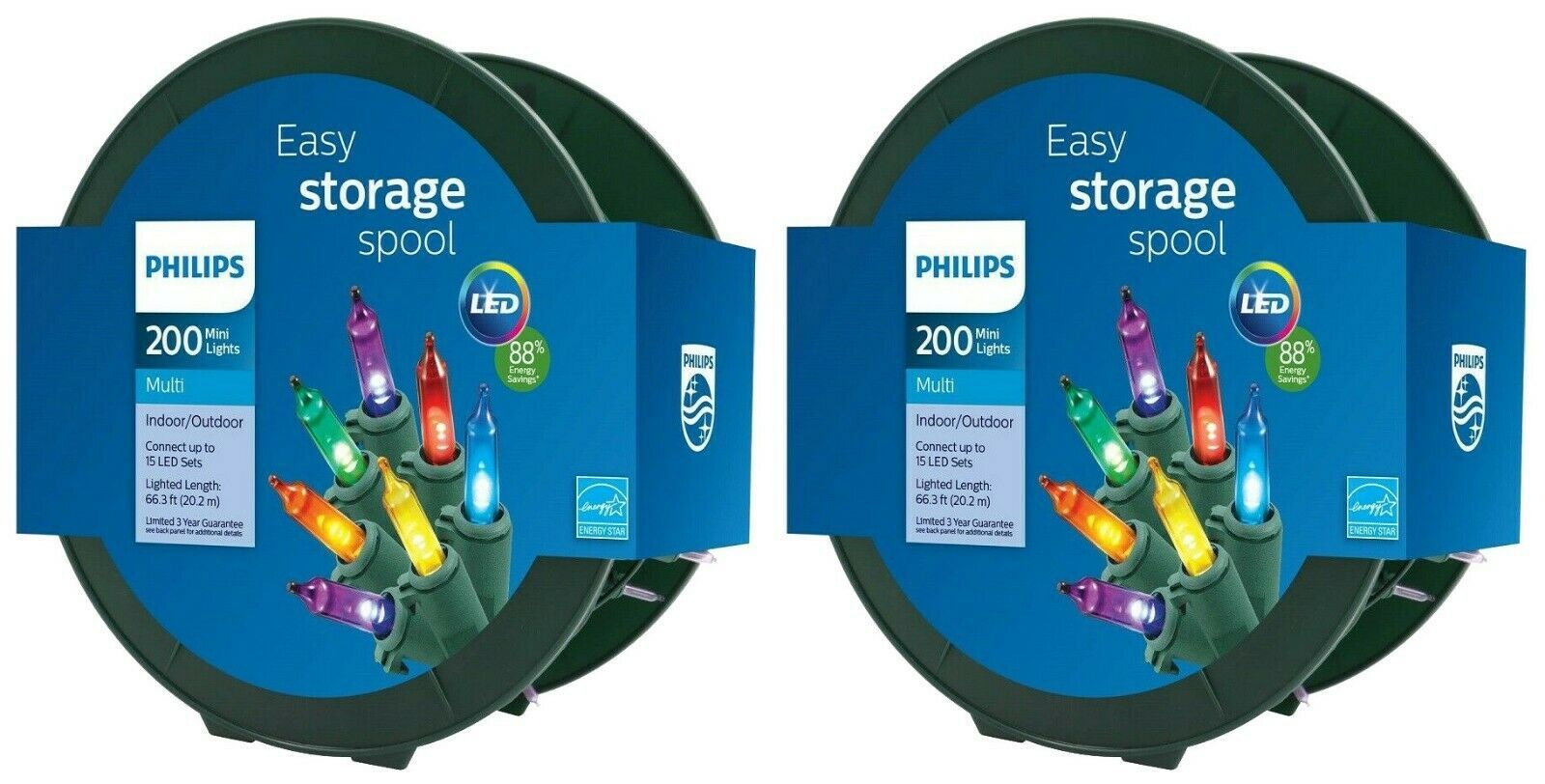 Spool of Philips 200ct Christmas LED Smooth Mini String Lights Multicolored NEW