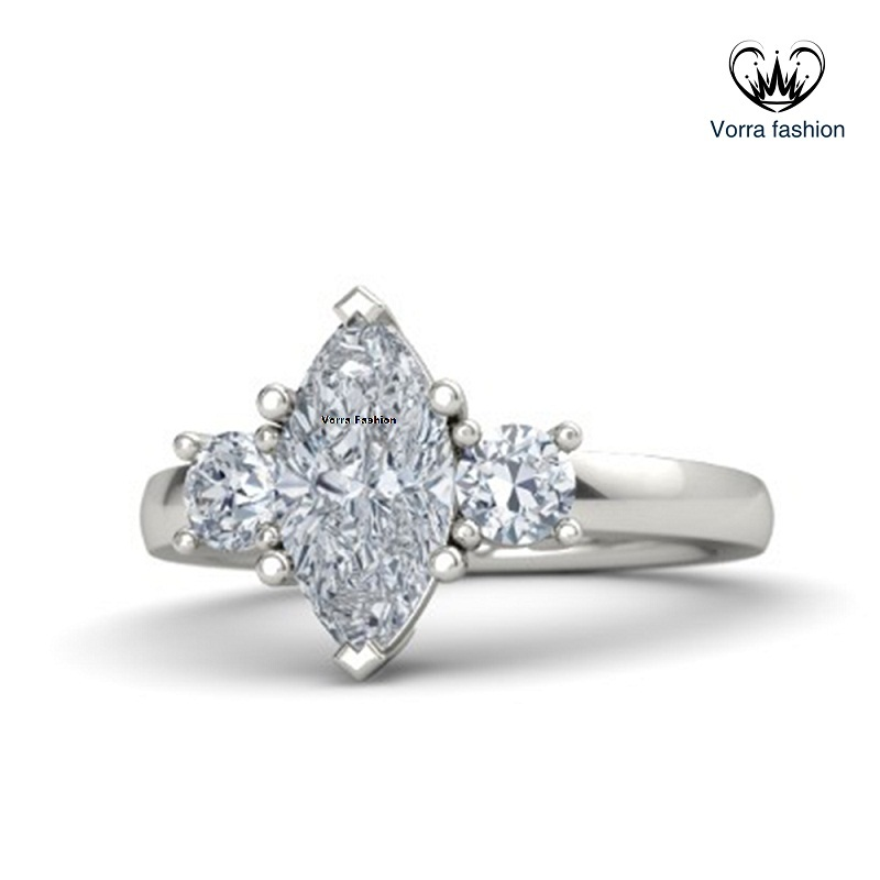 Three Stone Engagement Ring In White Gold Plated 925 Silver Marquise Cut Diamond