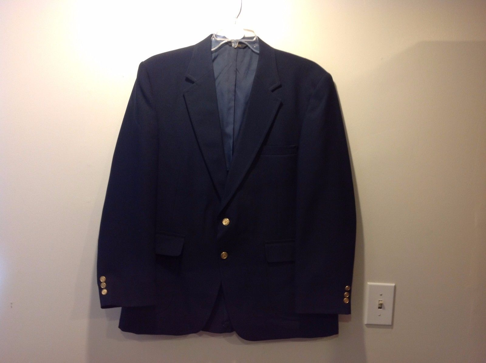 Towncraft Navy Blue Lined Sport Coat Jacket Blazer Sz 46R