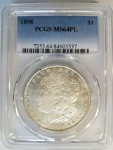 1898 Silver Morgan Dollar PCGS MS 64 PL Proof Like Graded Mirrors Coin  - $214.99