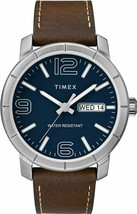 Timex Men's TW2R64200 Model 44 Blue Dial Brown Leather Strap Day/Date Watch - $33.66