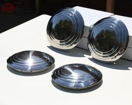 32-35 Ford Plain Smooth 3 Ring Hub Cap Set Hot Rat Street Rod Pickup Tru... - $84.79