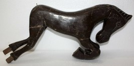 India Vintage Wooden Horse Toy Hand Made Tribal Art Piece Wt 1kg 530 Gm - $19.12