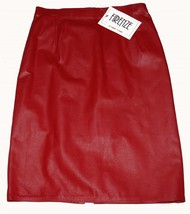 VTG Firenze Lipstick Red No Waistband Lined Leather Pencil Knee Skirt Wm... - $36.99