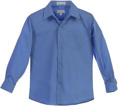 Boy's Classic Fit Long Sleeve Button Down Toddler Kids Blue Dress Shirt 12 image 2