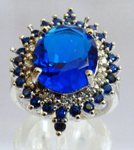 Sterling Silver .925 Oval cut Blue Sapphire CZ & clear Ring size 6 - $71.28