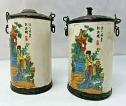 Antique Chinese Guanyin Poems décor pair of porcelain Incense Burner - $140.00