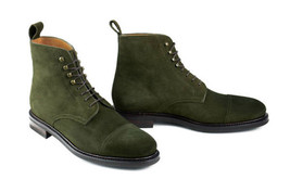 Handmade Green Hunter Suede Leather Boots Mens Green Laceup Boots - $3.192,98 MXN+