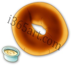 Breakfast Bagel and Cream Cheese Clipart Digita... - $1.00