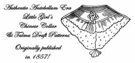 1857 Antebellum Civil War Girls Talma Coat Draft Pattern Historical Reenactment - $5.99