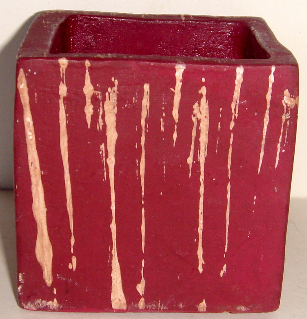 Small, Maroon, Square Resin Planter