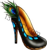 Beautiful Peacock Style Black Stilletto Heel Sh... - $1.00