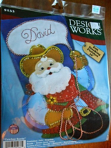 """Cowboy Santa Felt Appliqué Embroidery 18"""" Stocking Kit - $16.99"""