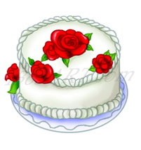 Beautiful Rose Flower Cake Dessert Food Clipart... - $2.50