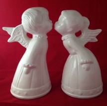 Pair of All White Kissing Christmas Angels Boy ... - $29.95