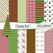 "Christmas Paper Pack 2: Scrapbook Paper,12""x12"", Digital Paper, 12 Papers - $3.50"
