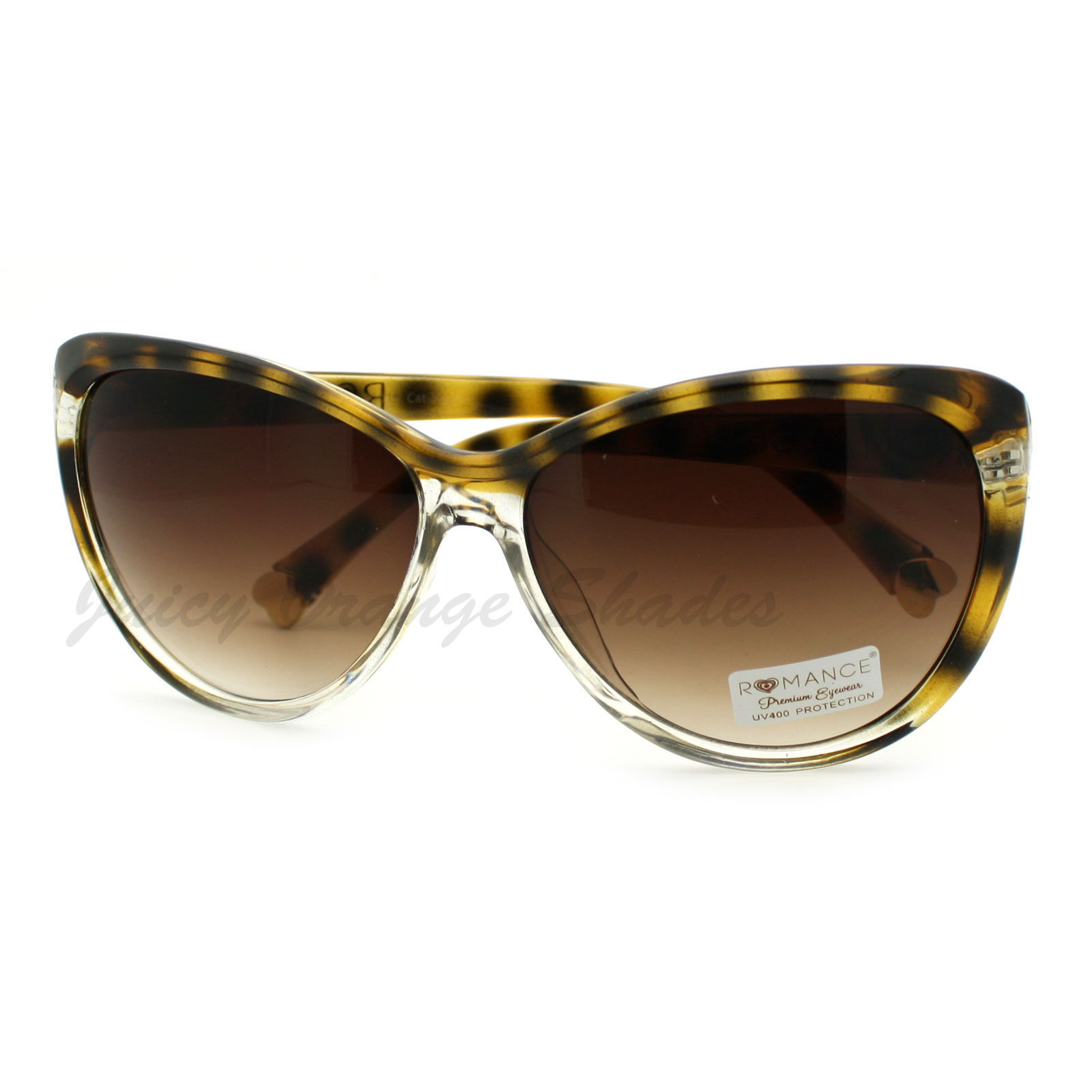 Oversized Round Cateye Sunglasses Womens Fashion Heart Tip