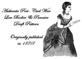 1870  Victorian Post- Civil War Pannier Tunic Draft Pattern Reenactment ... - $5.99