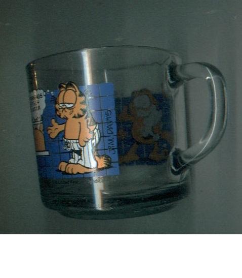 Garfield glass mug McDonald's + book + stamper + baseball figurine