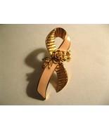 Avon Breast Cancer Awareness Lapel Pin - Vintage Pink Ribbon Roses Brooc... - $19.79
