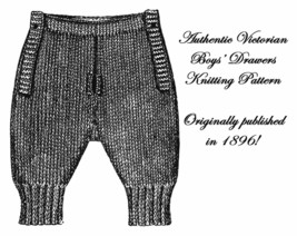 1896 Victorian Dickensian Boy Boys Knit Drawers Pattern DIY Historical V... - $5.99