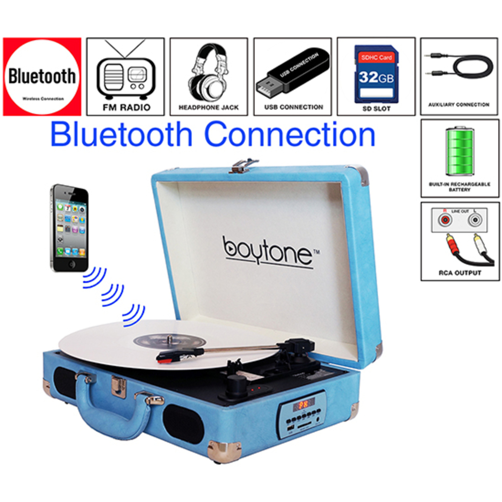 Boytone BT-101LB Bluetooth Turntable Briefcase Record player AC-DC, Built in Rec