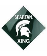 "Michigan State SPARTAN XING 12"" x 12"" Embossed Metal Crossing Sign - $9.95"