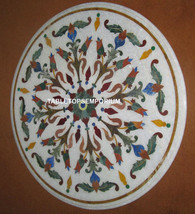 "30"" White Marble Coffee Table Top Mosiac Inlaid Pietra Dura Handmade Arts - $1,125.00"