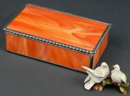 AN ORANGE WISPY OPAL STAINED GLASS JEWELRY BOX WITH A BOLD ROAP TWIST ED... - $69.25
