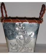 Square Pressed Tin Planter w/ Twig Motif + Liner - $9.00