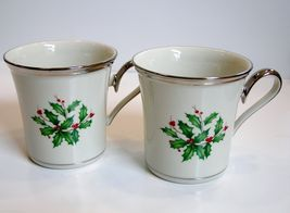 2 Lenox Holiday Platinum Mugs Coffee Tea Cups NWT - Discontinued 1st Quality - $125.00