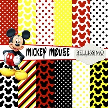"""Mickey Mouse Paper Pack: Scrapbook Paper,12""""x12"""", Digital Paper, 12 Papers - $3.50"""