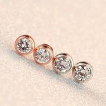 NIBA JEWELRY Big Crystal Rose Gold Plated Mosaic zircon stud earrings co... - $13.95