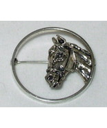 vintage 60s retro BEAU Sterling Silver Circle Pin Horse Head brooch - $22.00