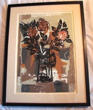 "Framed, Matted Signed Guy Maccoy Serigraph ""Flowers Two"""