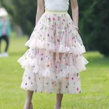 Champagne Tiered Tulle Skirt Outfit Floral Layered Tulle Skirt Princess Skirt image 2