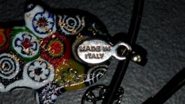 Murano Glass Hamsa Amulet Good Luck Charm Judaica Pendant Murina Pattern Italy image 6