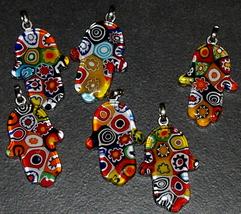 Murano Glass Hamsa Amulet Good Luck Charm Judaica Pendant Murina Pattern Italy image 2