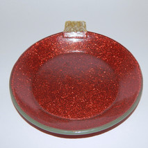 Fused Glass Christmas Ornament Shaped Plate Red Dessert Holiday Serving ... - $11.99