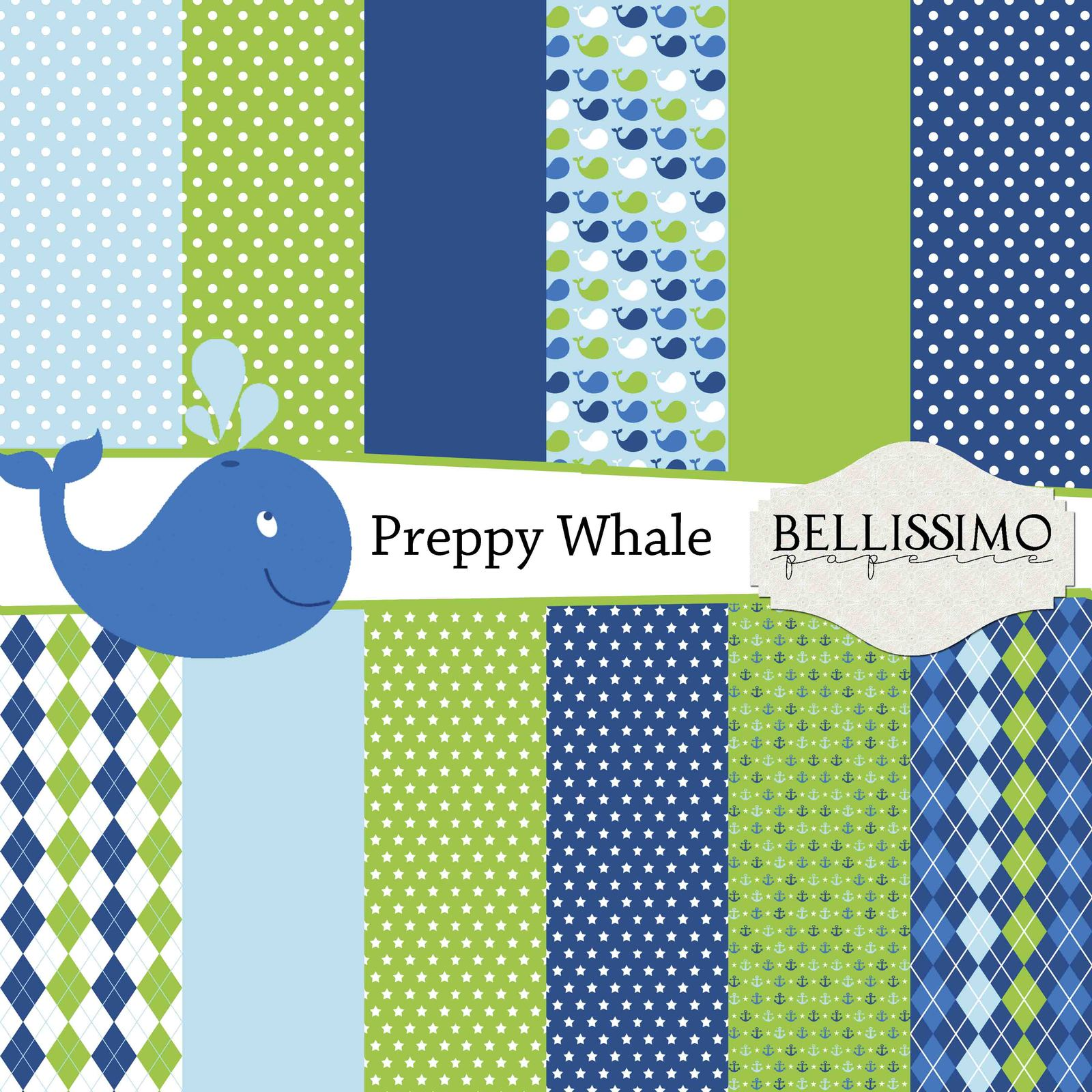 Preppy whale boy paper pack