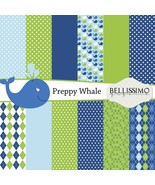 "Preppy Whale Themed Paper Pack: Scrapbook Paper, 12""x12"", Digital Paper,... - $2.80"