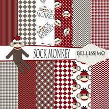 "Sock Monkey : Scrapbook Paper,12""x12"", Digital Paper, 12 Papers - $3.50"